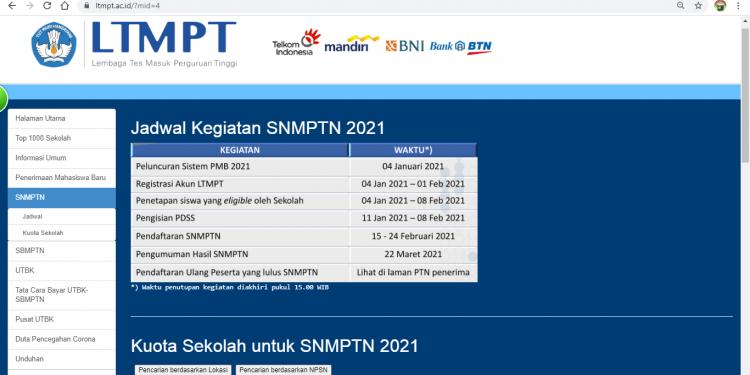 Kuota SNMPTN 2021 Sekolah Mu